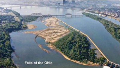 Aerial view of the Falls of the Ohio