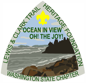 Triangular patch with the text 'Lewis & Clark Trail Heritage Foundation, Washington State Chapter, Ocean in view, Oh! The Joy'