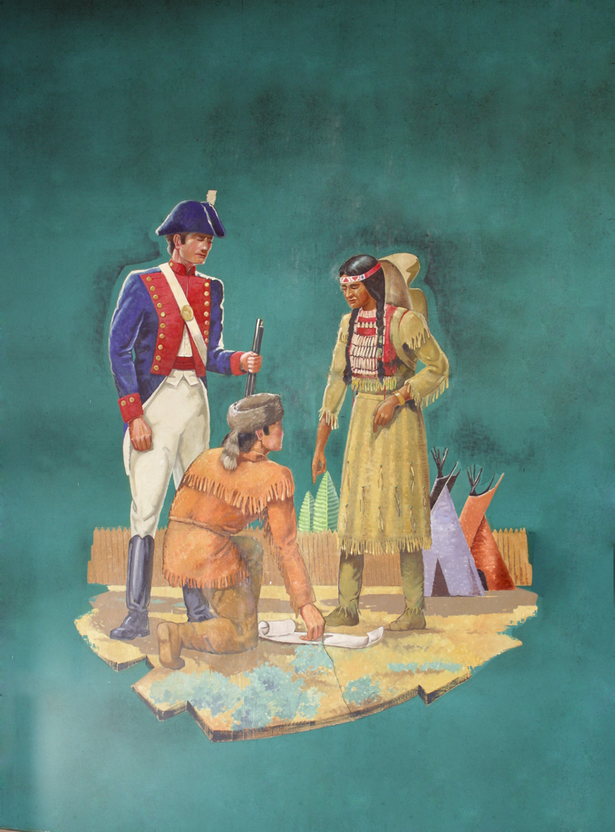 painting of Sacagawea talking to the captains